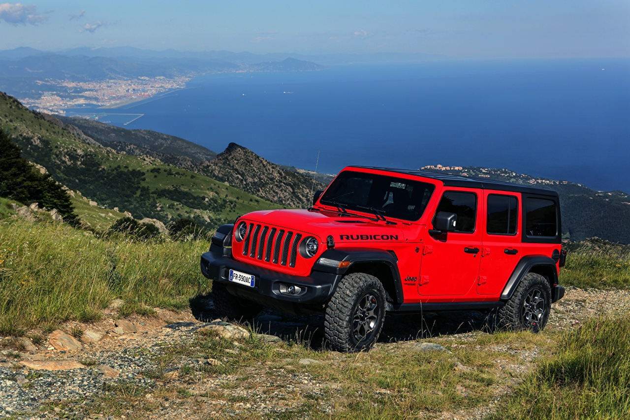 Photo Jeep Sport utility vehicle 2018-20 Wrangler Unlimited Rubicon Red Cars SUV auto automobile