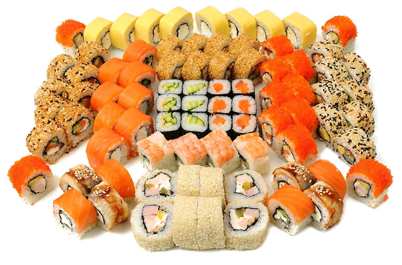 Bilder Sushi Mat Mange Sjømat Hvit bakgrunn