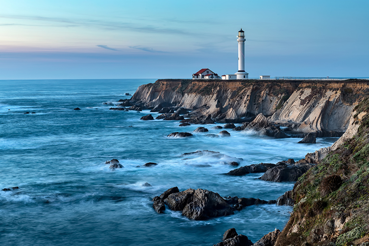 Image California USA Point Arena lighthouse Nature Lighthouses Coast