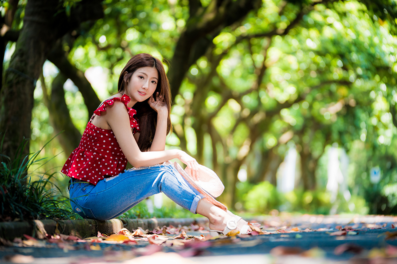 Photos blurred background Blouse Hat Girls Asian Jeans sit Staring Bokeh female young woman Asiatic Sitting Glance