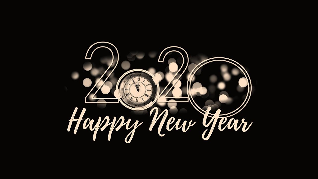 Fotos 2020 Neujahr englischer Wort Schwarzer Hintergrund Englisch englische englisches text