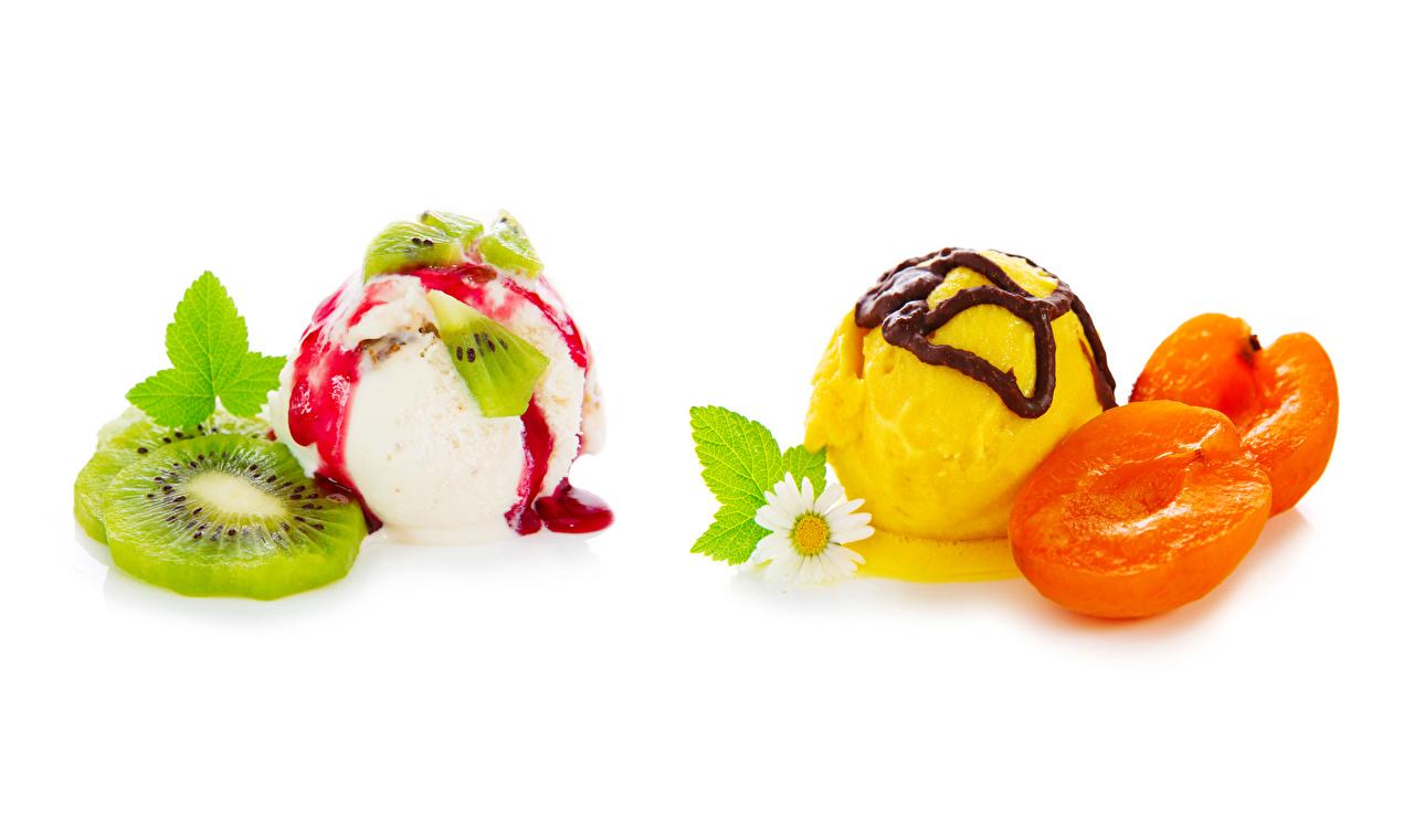 Pictures Chocolate Apricot Ice cream Kiwi matricaria Food Balls White background Camomiles Kiwifruit Chinese gooseberry