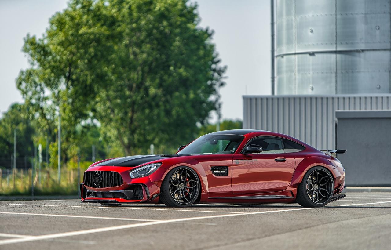 Desktop Hintergrundbilder Mercedes-Benz AMG GT Rot Seitlich automobil Metallisch auto Autos