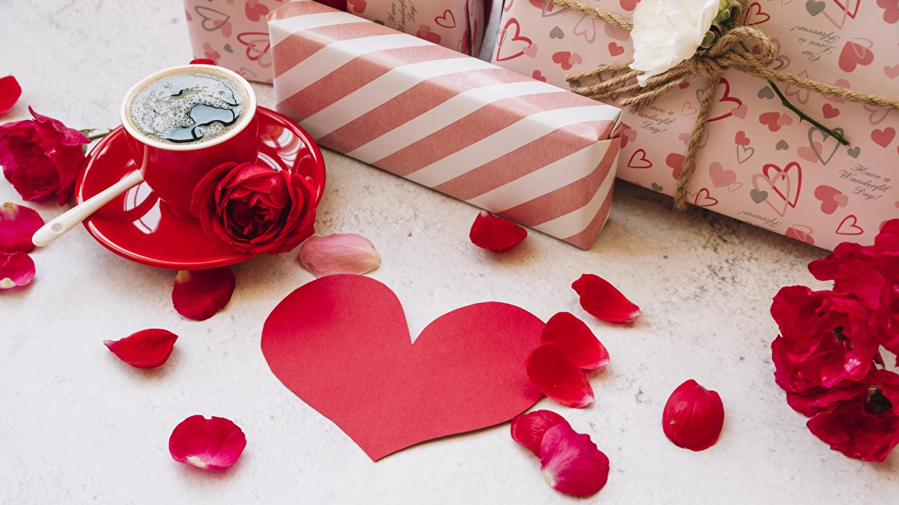 Image Valentine's Day Heart rose Coffee Petals present Roses Gifts