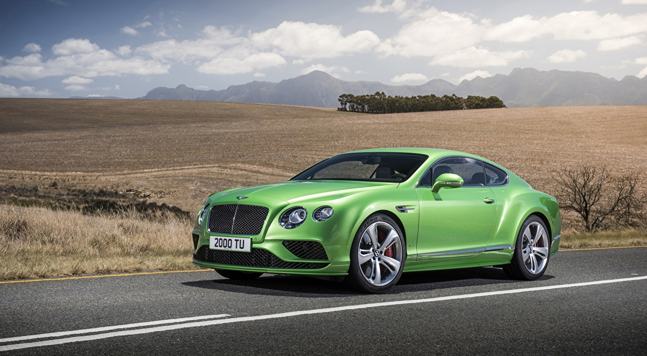 Pictures Bentley Continental GT Speed, 2015 Coupe expensive Green Cars Luxury luxurious auto automobile