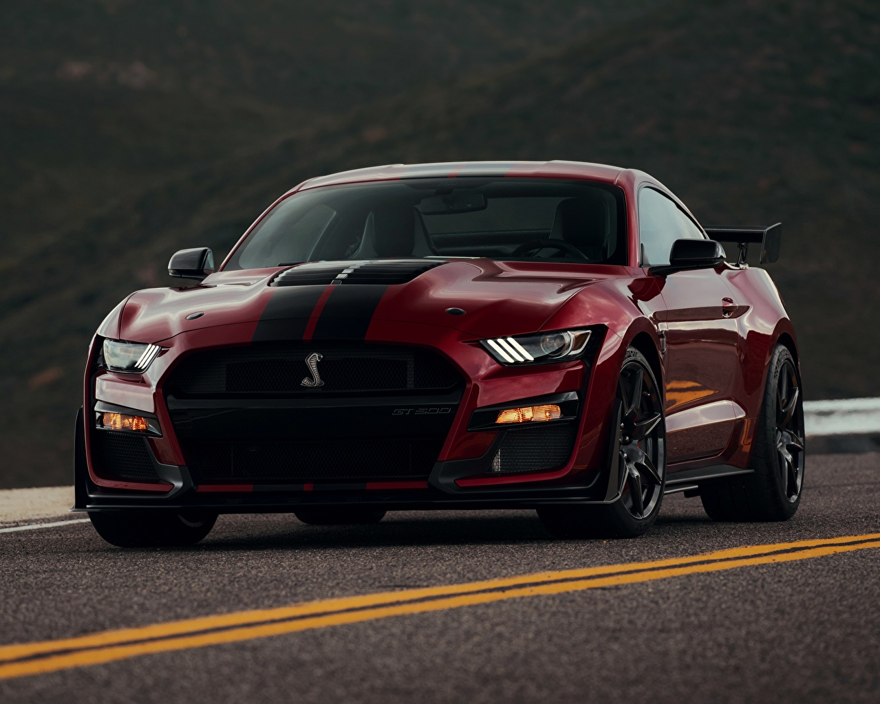 Image Ford Mustang Shelby GT500 2019 dark red Cars Front maroon burgundy Wine color auto automobile