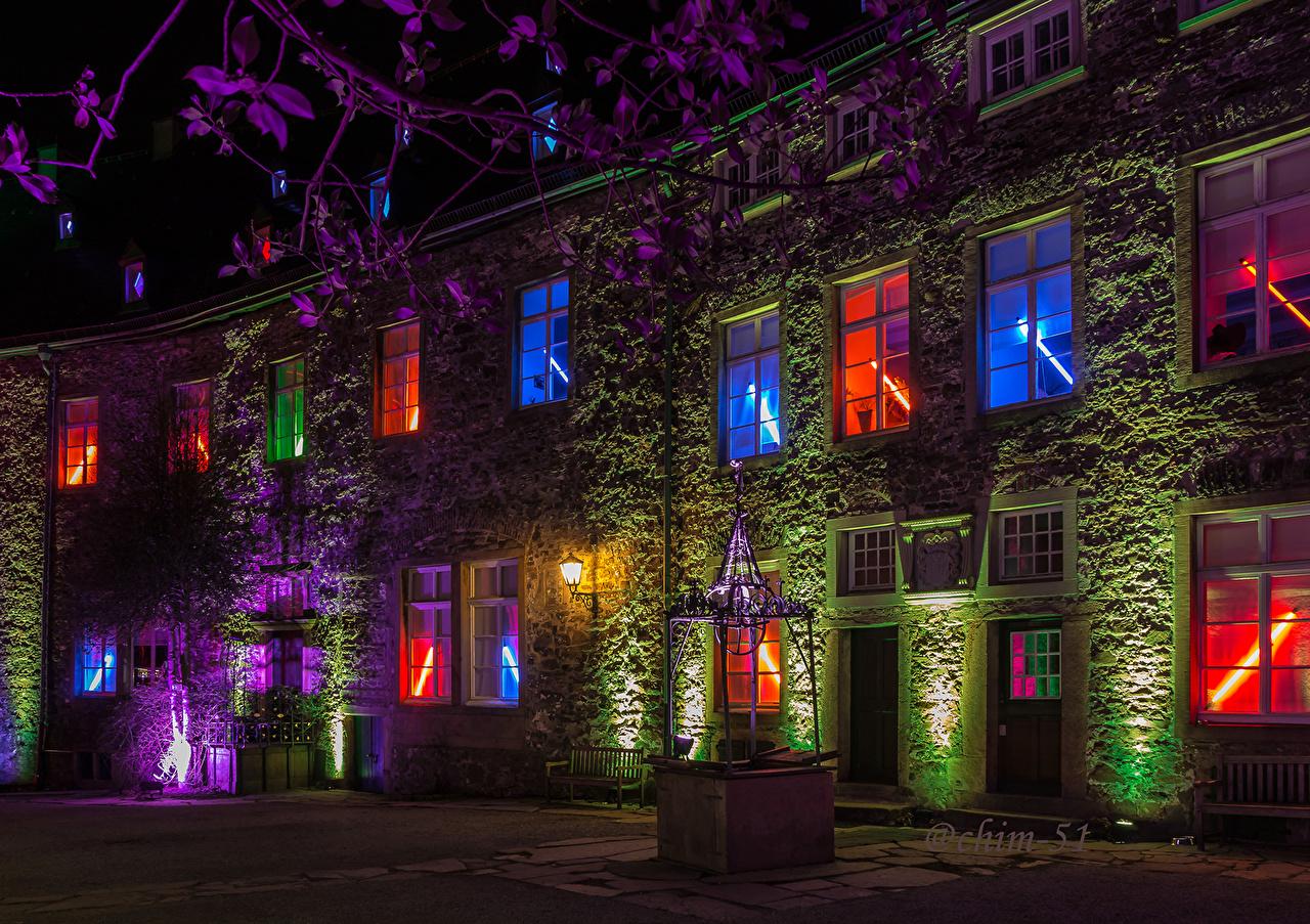 Photo Germany Drachenburg Castles night time Street lights Cities castle Night