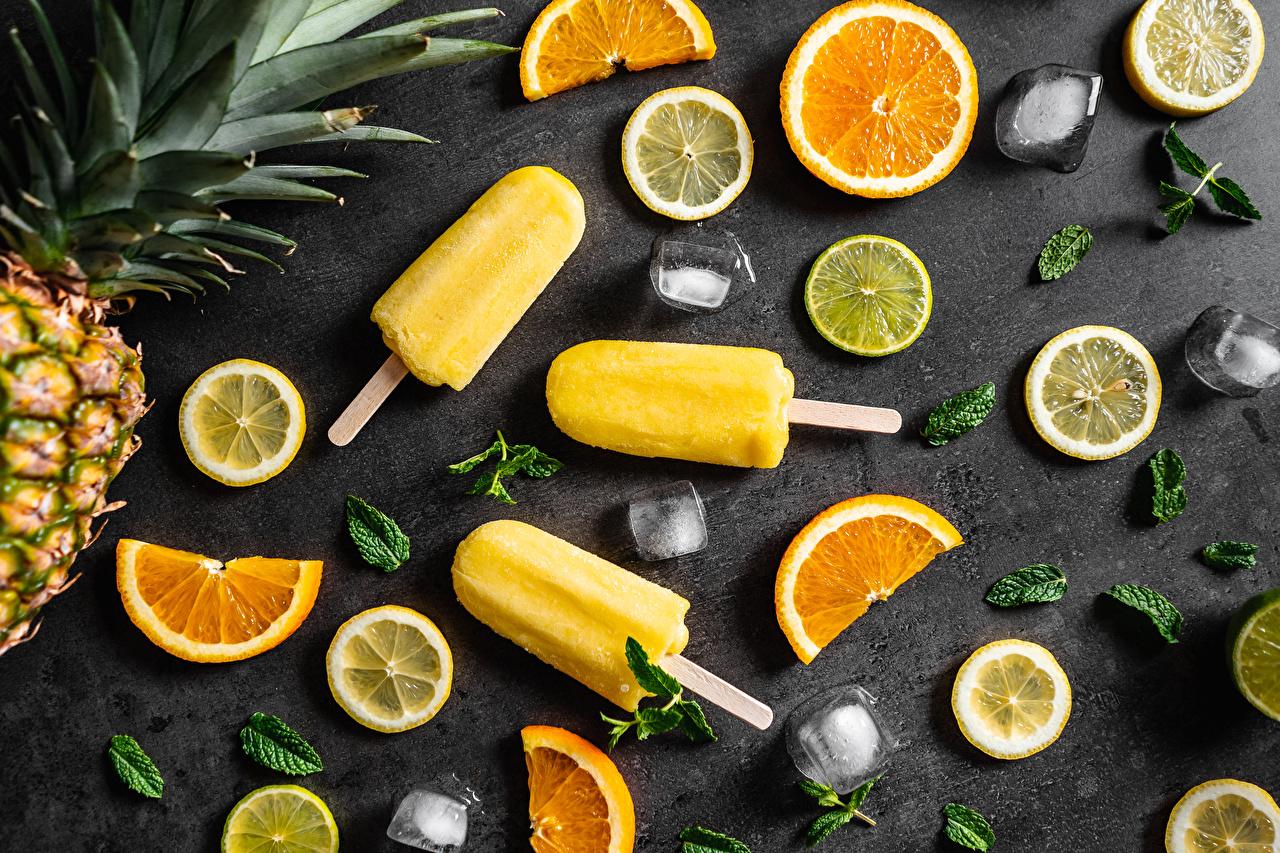Photos Ice Ice cream Orange fruit Lemons Food Sliced food