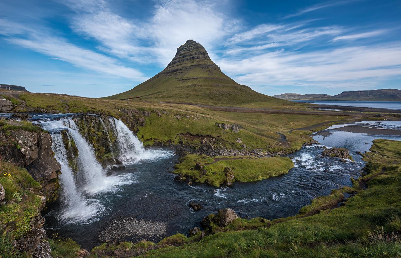 Pictures Iceland Kirkjufell, Kirkjufoss Nature Mountains Waterfalls landscape photography mountain Scenery