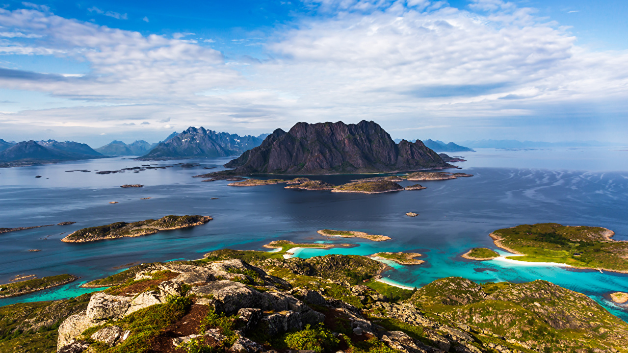 Pictures Lofoten Norway Crag Nature Mountains Sky Clouds Rock Cliff mountain