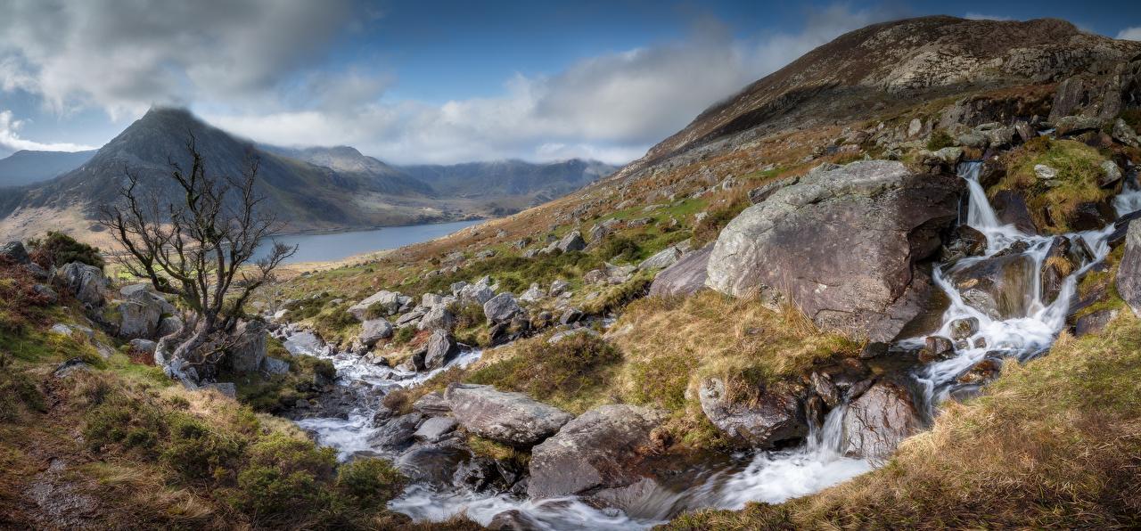 Fotos von Wales Vereinigtes Königreich Panoramafotografie Snowdonia Bach Natur Gebirge Parks Steine Panorama Berg Bäche Park Stein