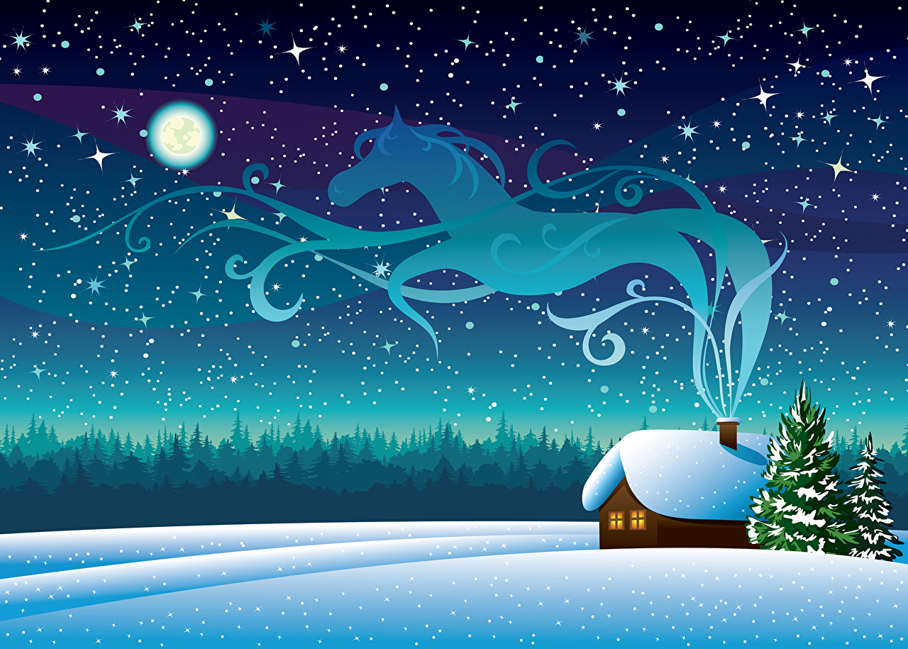 Picture Horses Stars Christmas Sky Smoke night time Holidays Vector Graphics horse New year Night