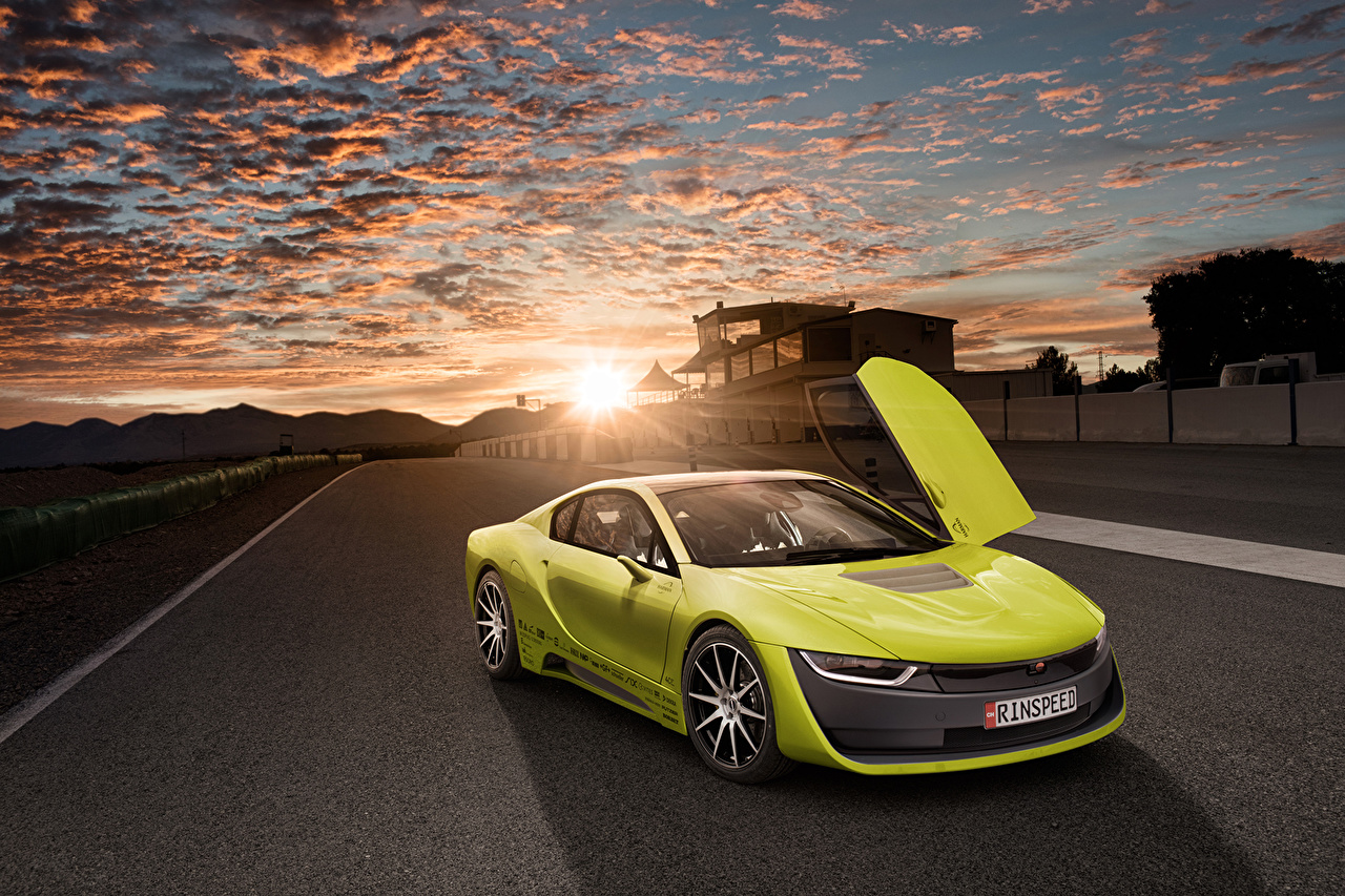 Photos BMW Tuning 2015 Rinspeed Etos concept (BMW i8) Yellow Sunrises and sunsets Cars Clouds sunrise and sunset auto automobile
