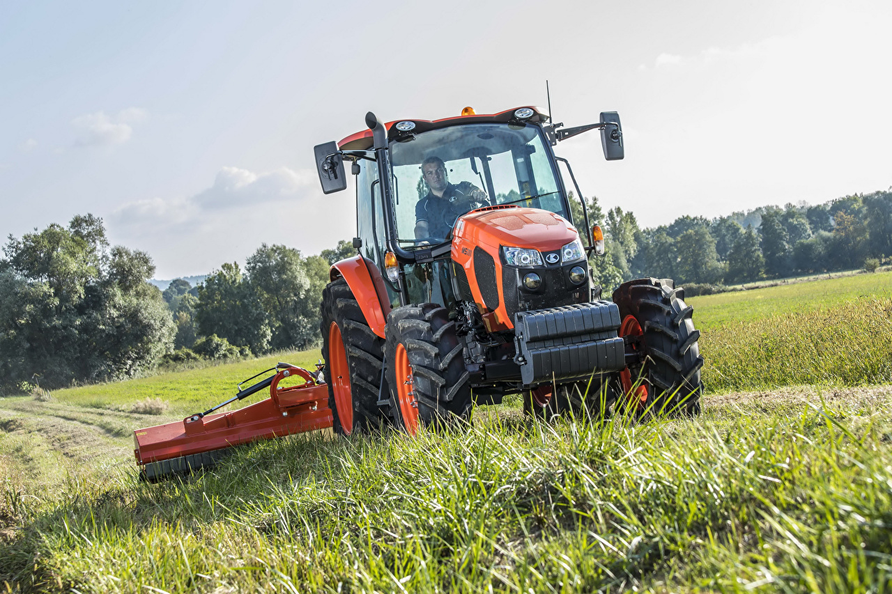 Wallpaper Agricultural machinery Tractor 2016-17 Kubota M5111 Fields tractors