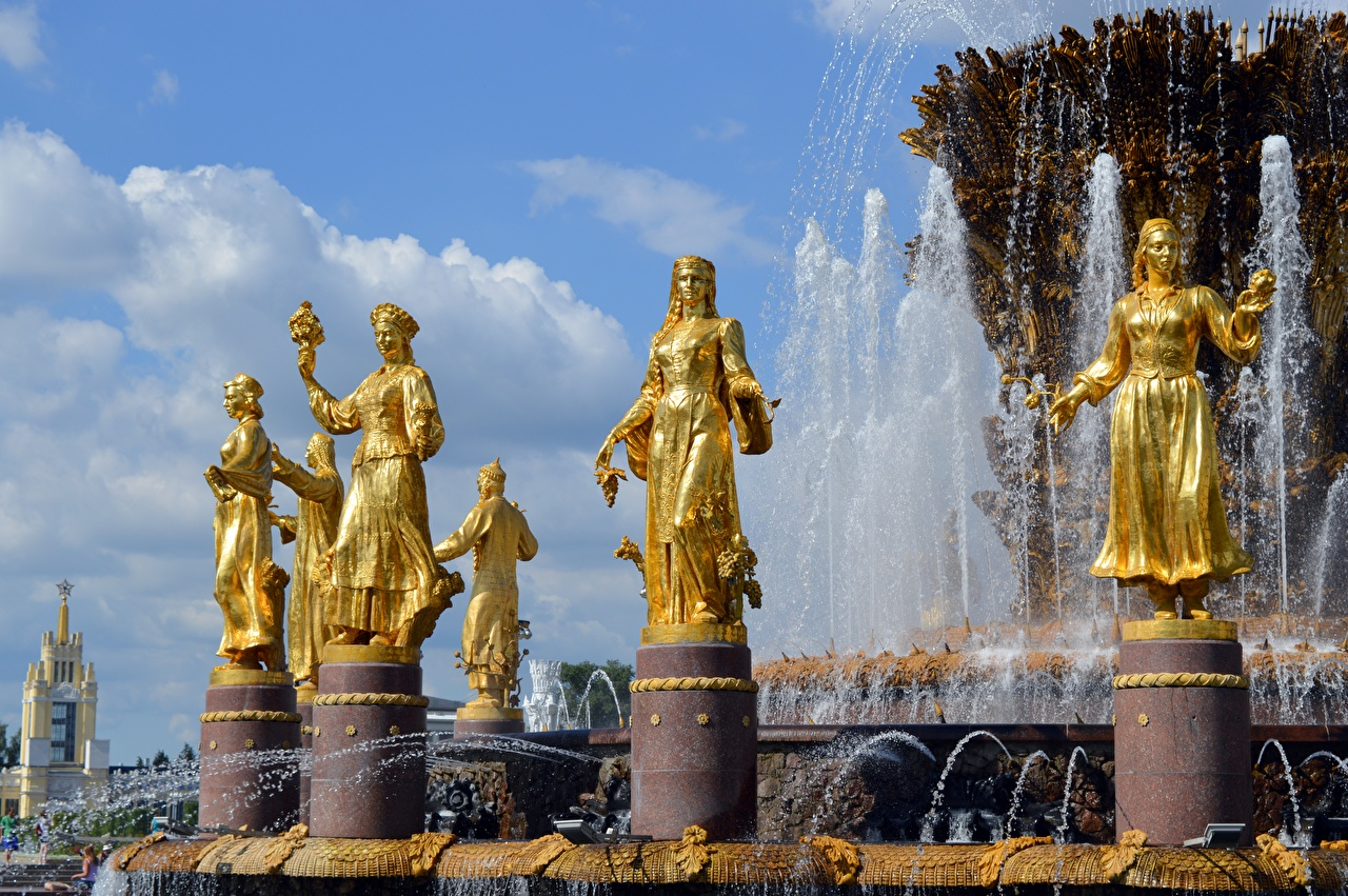 Image Moscow Russia Fountains Fountain Of Friendship Of Peoples, VDNH Gold color Cities Sculptures