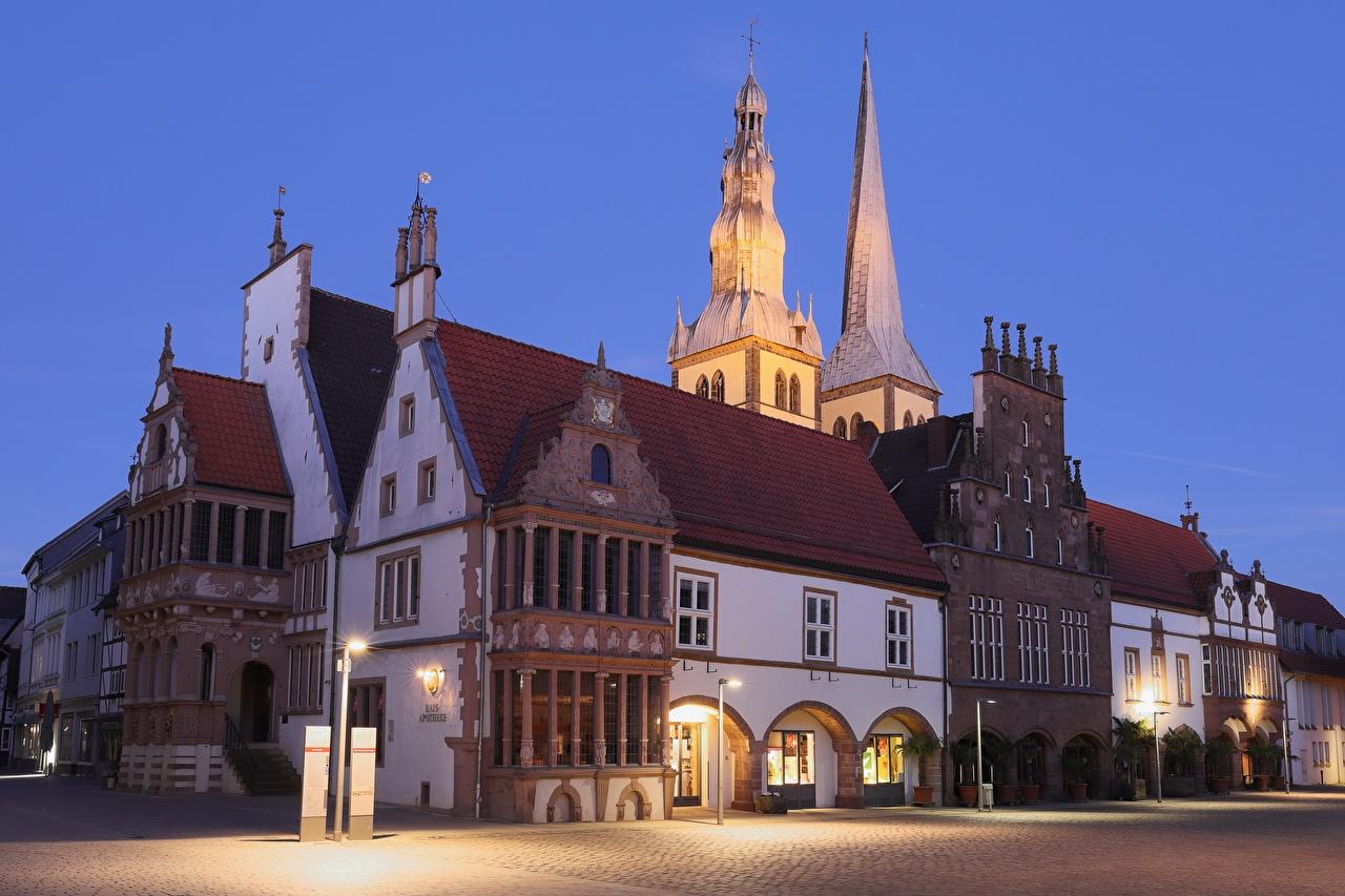 Bilder Deutschland Platz Lemgo, North Rhine-Westphalia Abend Straßenlaterne Haus Städte Gebäude