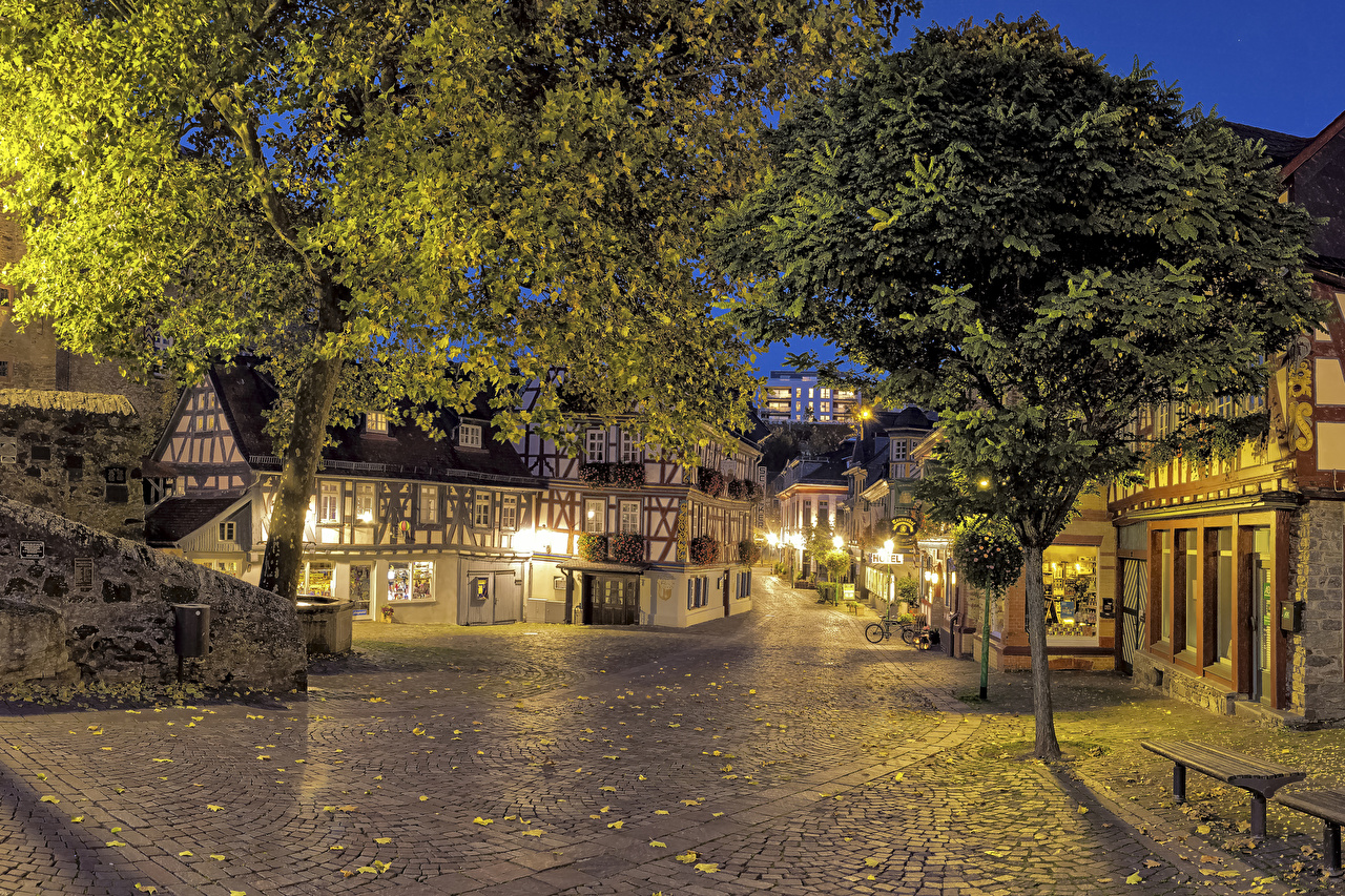 Pictures Germany Idstein Hesse Street Evening Street lights Trees Houses Cities Building