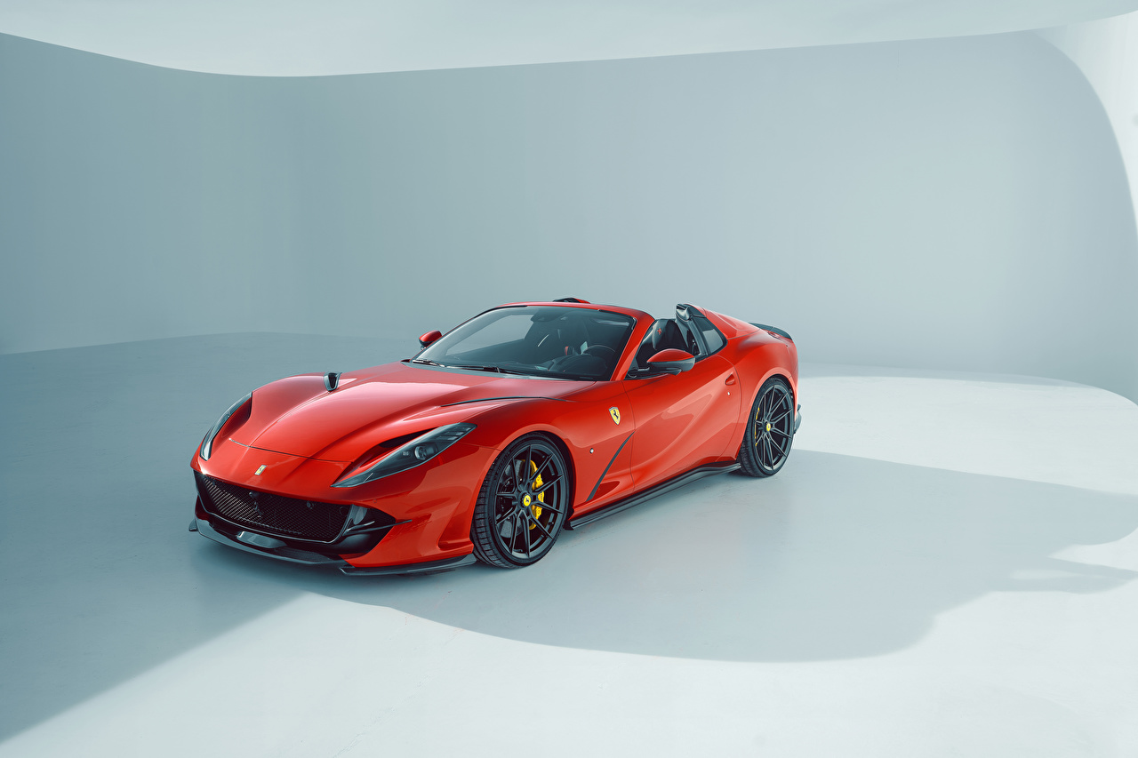 Bakgrundsbilder Tuning Novitec, Ferrari 812 GTS, 2021 Roadster Röd bil Metallisk Bilar automobil