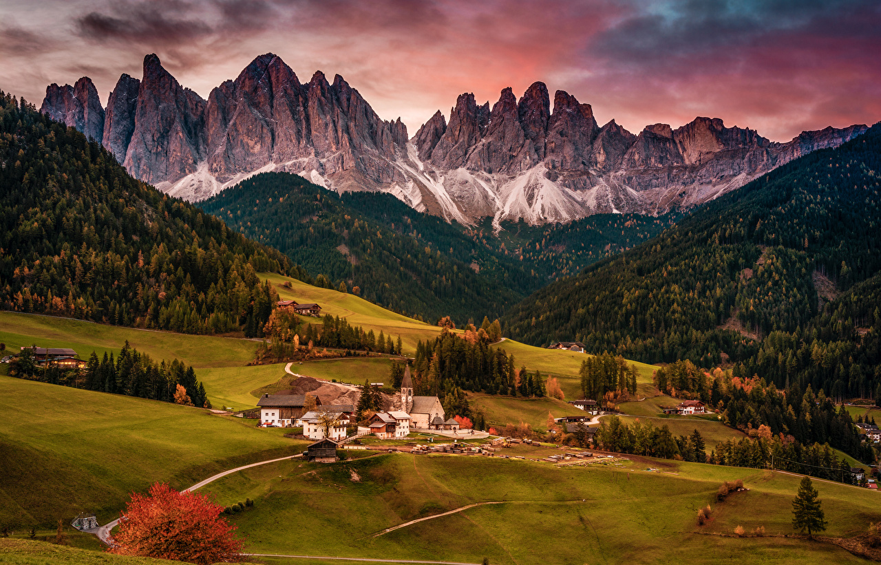 Image Italy Village village of Santa Maddalena Nature Mountains Forests Grasslands landscape photography Houses Cities mountain forest Meadow Scenery Building