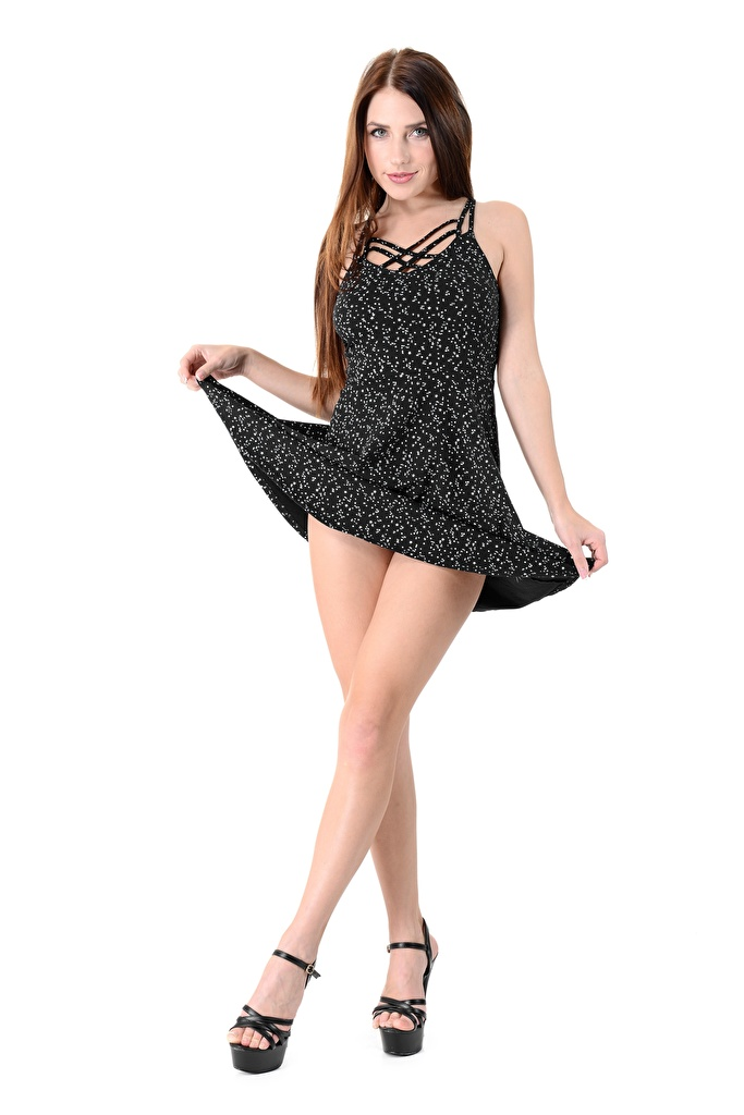 Photo young woman Niemira iStripper high heels Hands Dress Brown haired White background Legs  for Mobile phone Girls female Stilettos gown frock