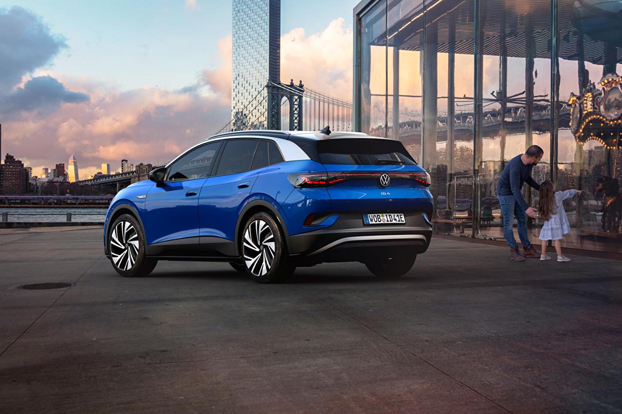 Photo Volkswagen Crossover ID.4 1st Edition, 2021 Blue Metallic automobile CUV Cars auto
