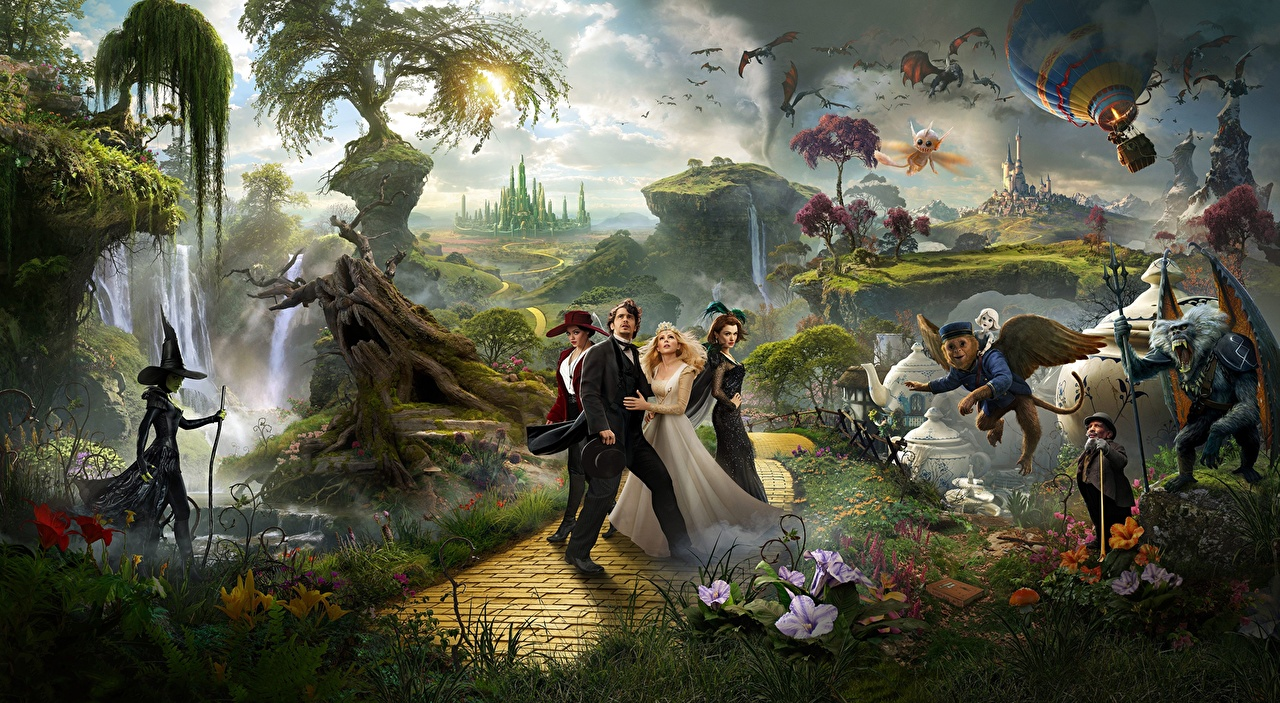 Pictures Mila Kunis Rachel Weisz James Franco Michelle Williams Oz the Great and Powerful Hat Fantasy young woman Movies Fantastic world Celebrities Girls female film