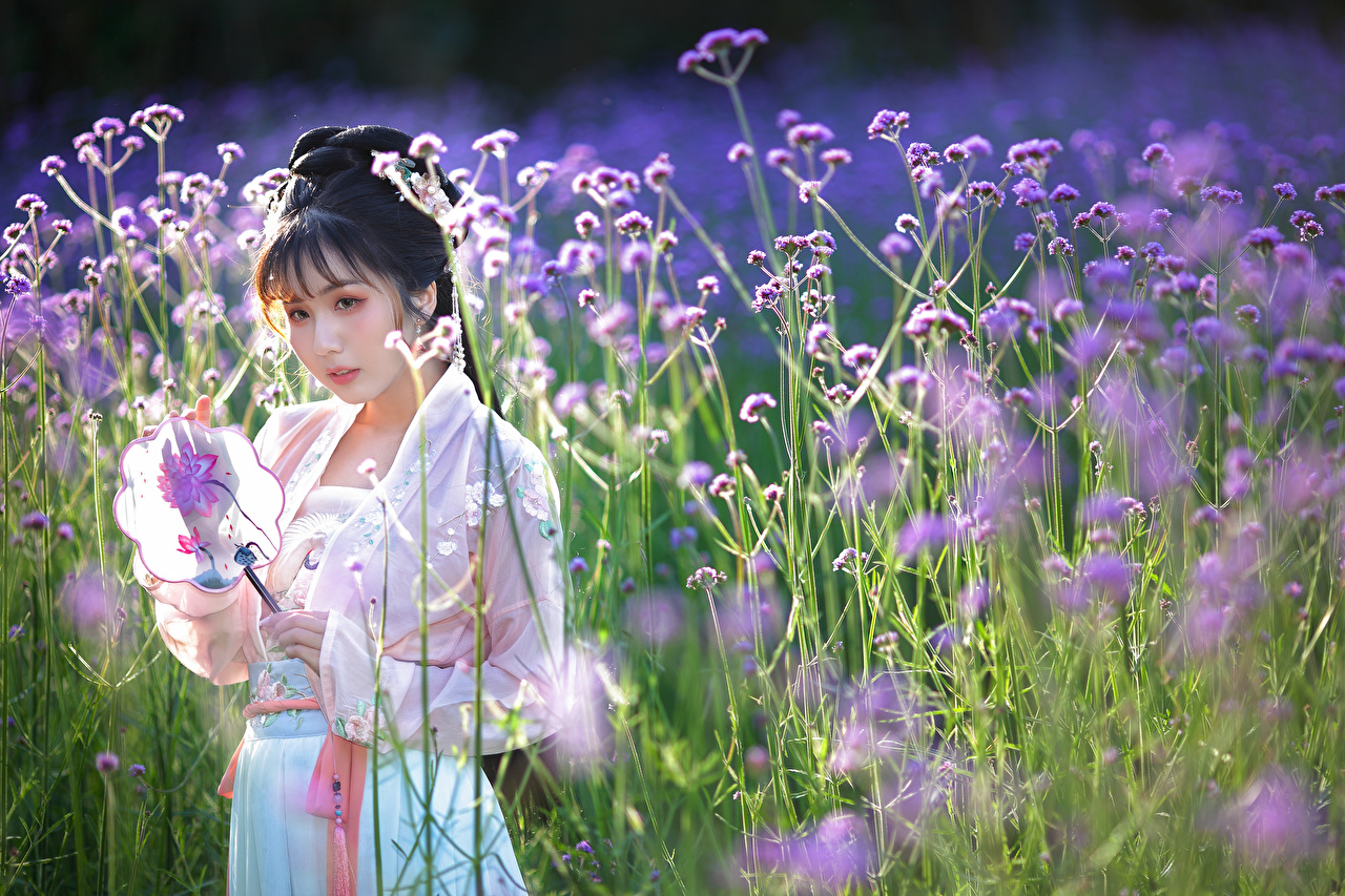Pictures blurred background female Asian Meadow Dress Bokeh Girls young woman Asiatic Grasslands gown frock