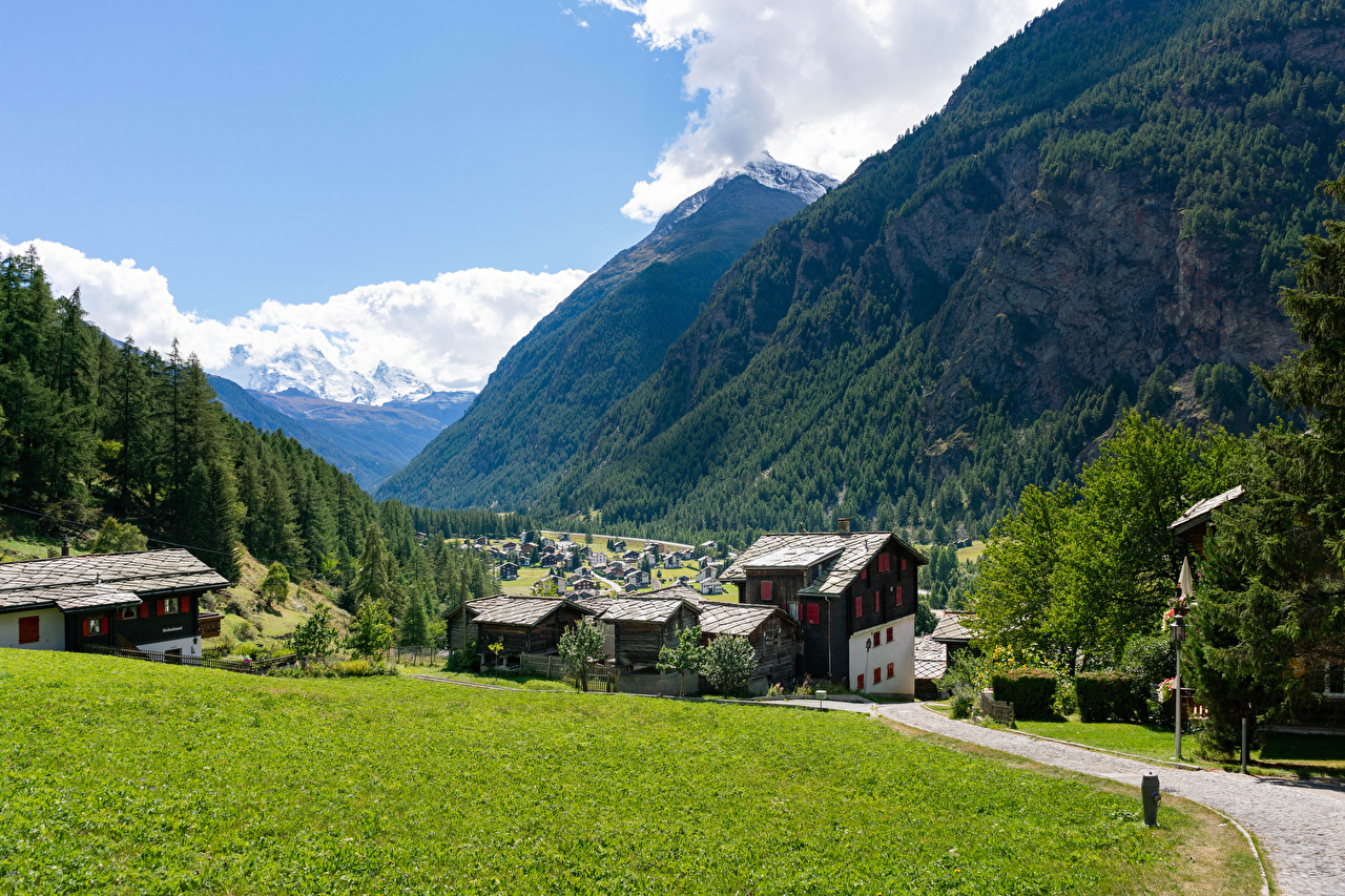 Image Alps Switzerland Village village Randa Nature Mountains forest Grass Cities Building mountain Forests Houses