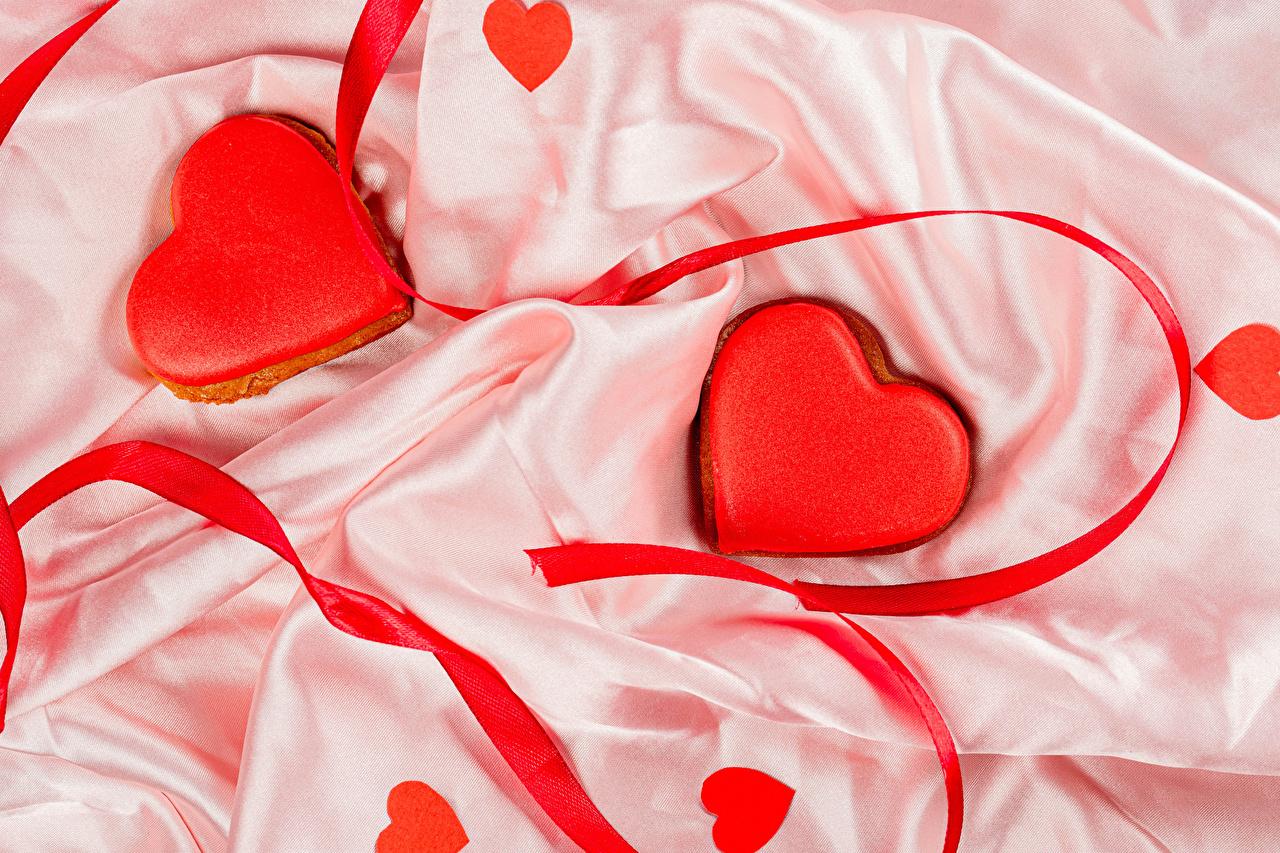 Immagine Festa di san Valentino Cuore Due 2 Cibo Nastro Biscotti Disegno alimento Fettuccia