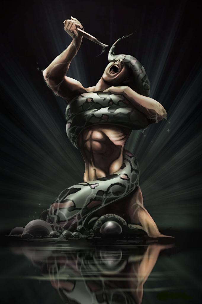 Images Snakes Man Screaming Knife Fantasy Battles  for Mobile phone snake Men scream fighting