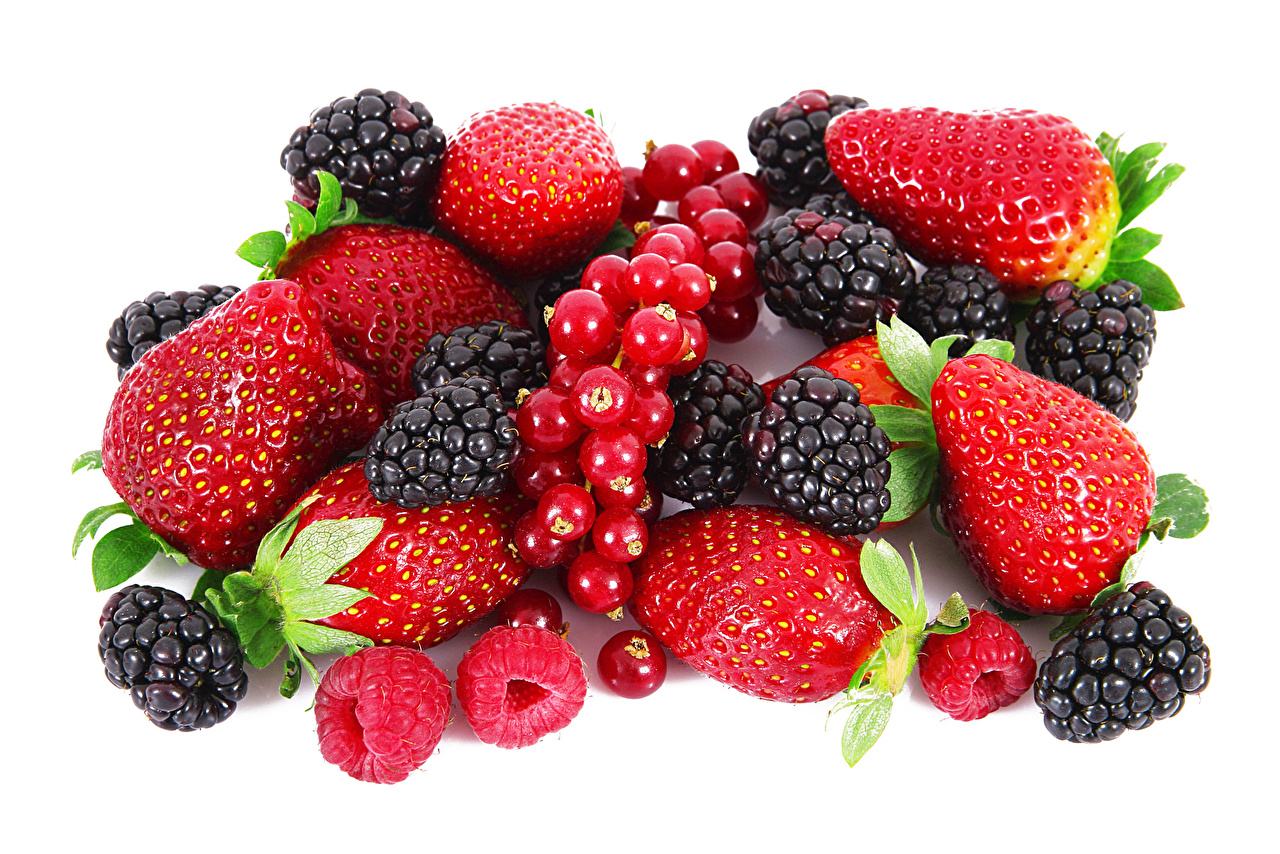 Image Currant Raspberry Strawberry Blackberry Food Berry White background