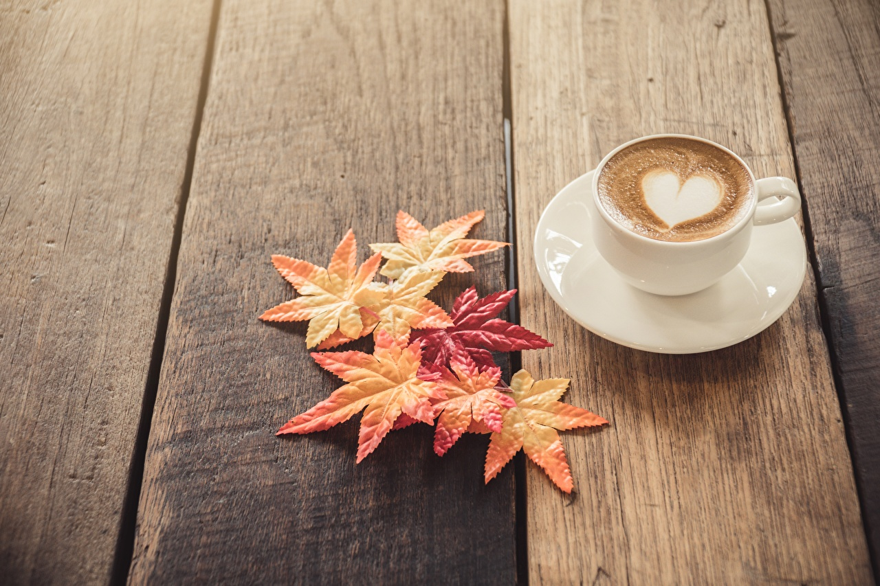 Wallpapers Foliage Heart Cappuccino Food Saucer Wood planks Leaf boards