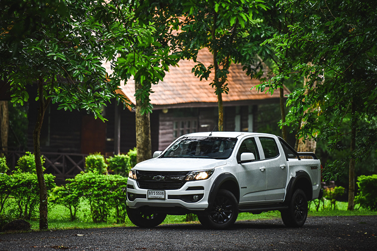 Images Chevrolet 2019 Colorado Trail Boss Double Cab Pickup White auto Cars automobile