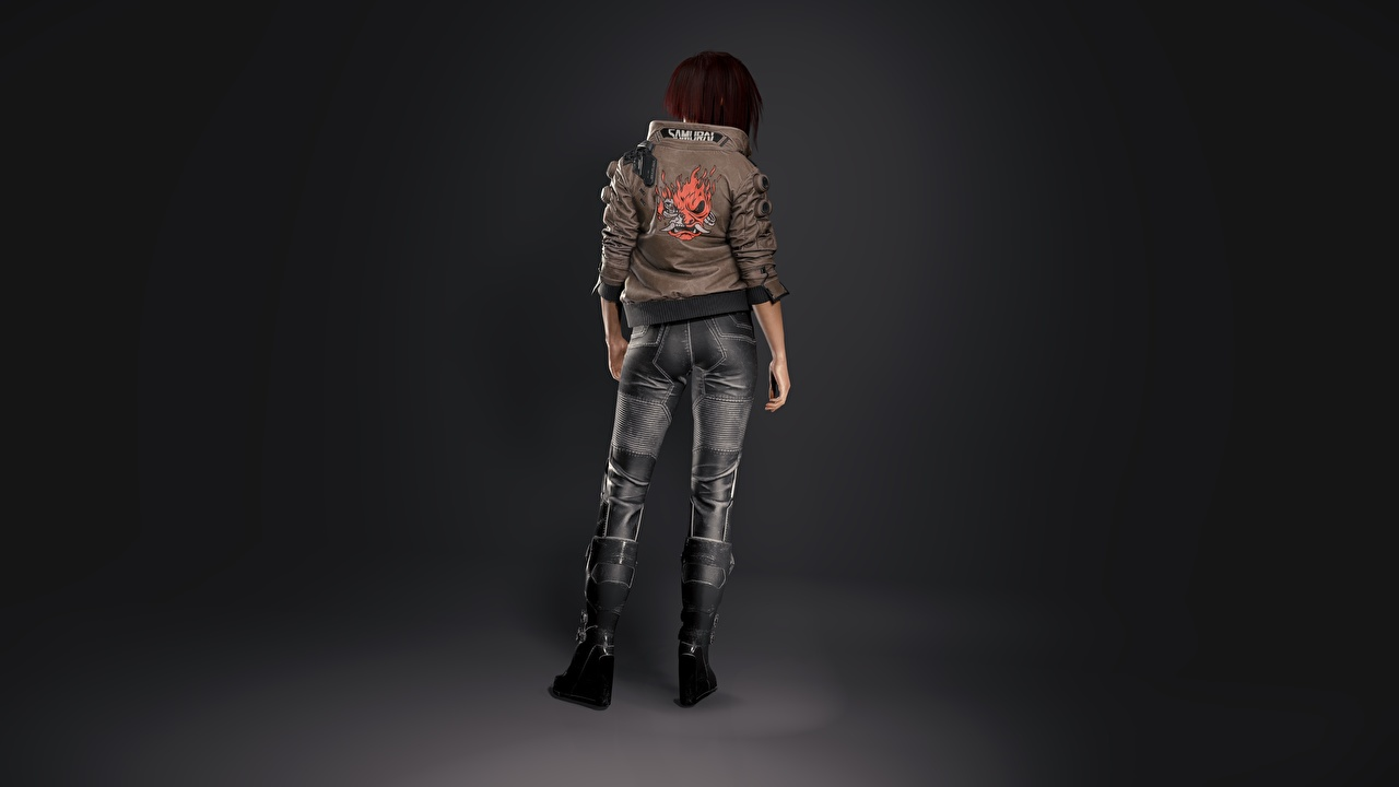 Images Cyberpunk 2077 Jacket female 3D Graphics Games Back view Girls young woman vdeo game