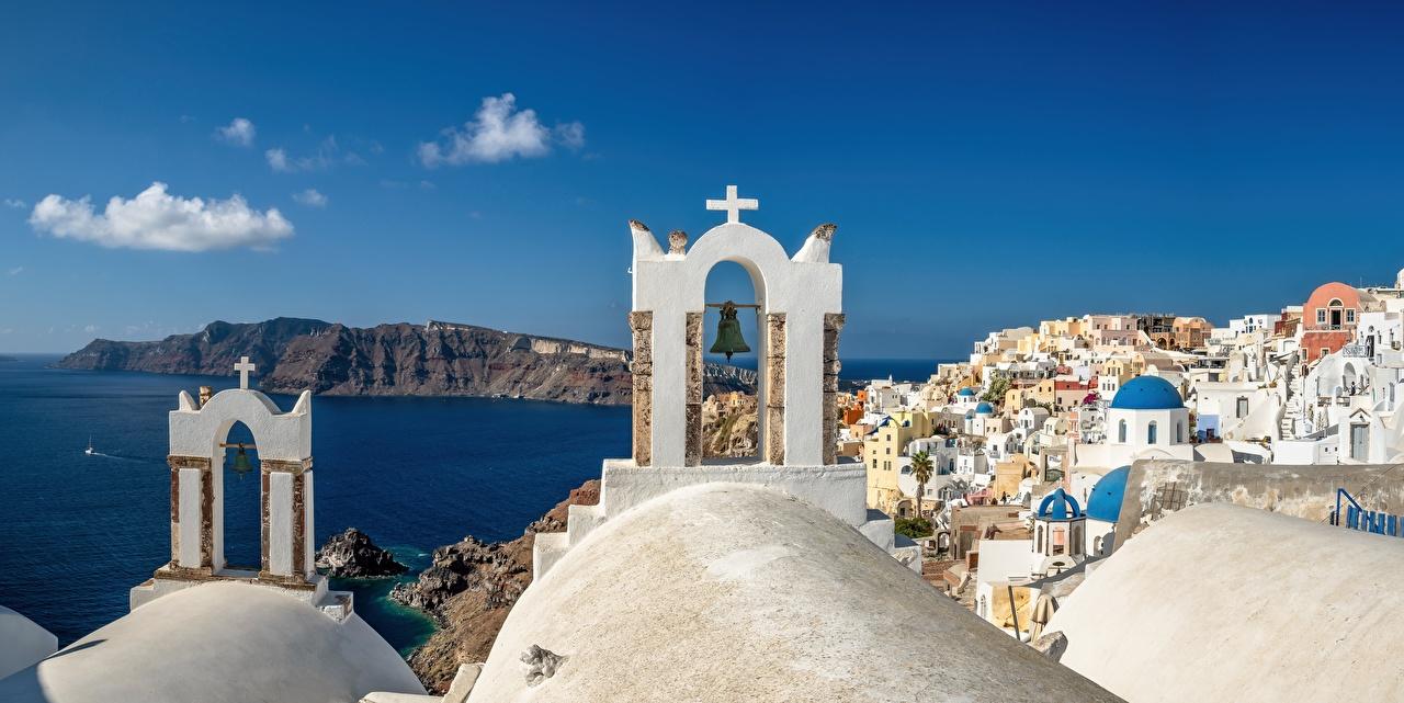 Fotos von Santorin Kirchengebäude Griechenland Oia, Aegean Sea Meer Küste Städte Gebäude Thira Kirche Haus