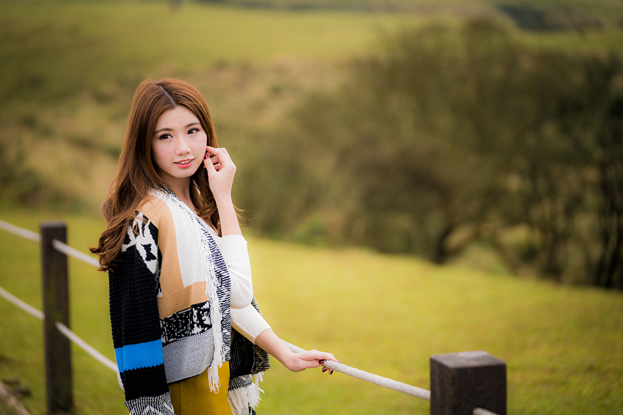 Desktop Wallpapers Brown Haired Bokeh Lovely Beautiful Female Asian