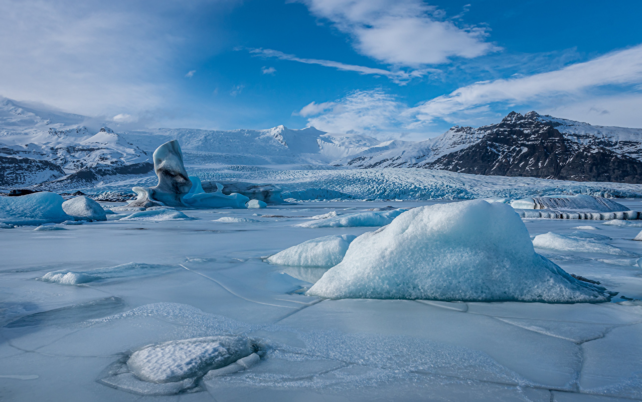 Picture Iceland Ice Nature Mountains Lake mountain