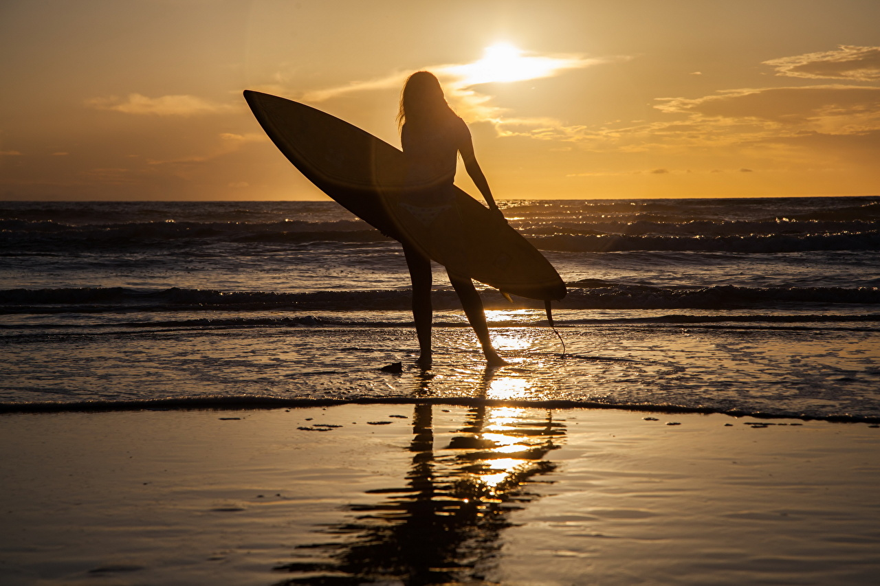 Images Silhouettes Sea Nature Surfing Young Woman Sunrises And