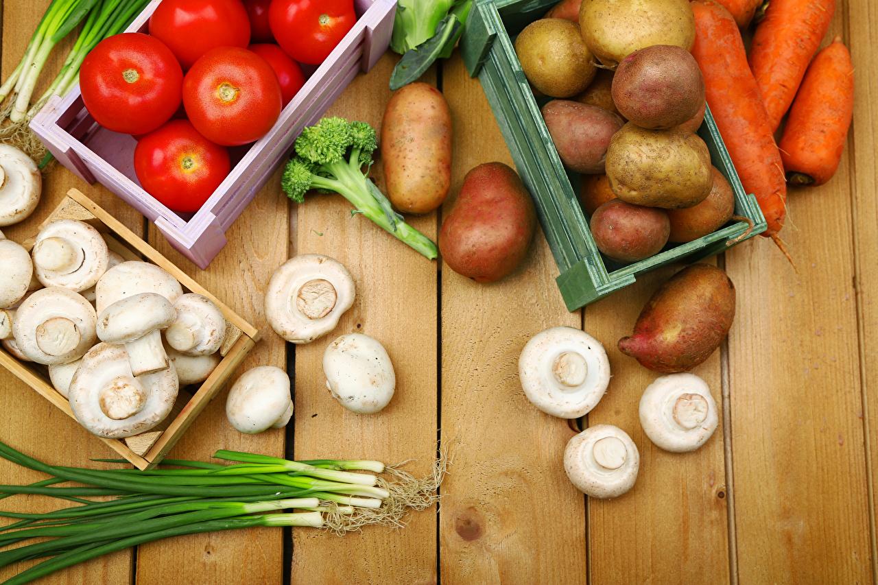 Fotos Tomate Mohrrübe Kartoffel Pilze Gemüse Lebensmittel Bretter