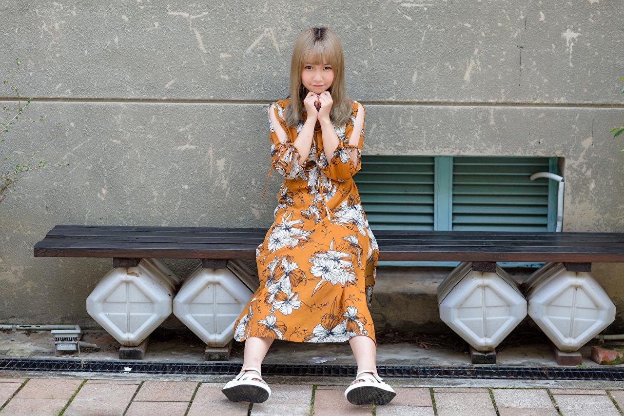 Bilder Søte Unge kvinner asiatisk Sitter Hagebenk Blikk Kjole søt ung kvinne Asiater ser