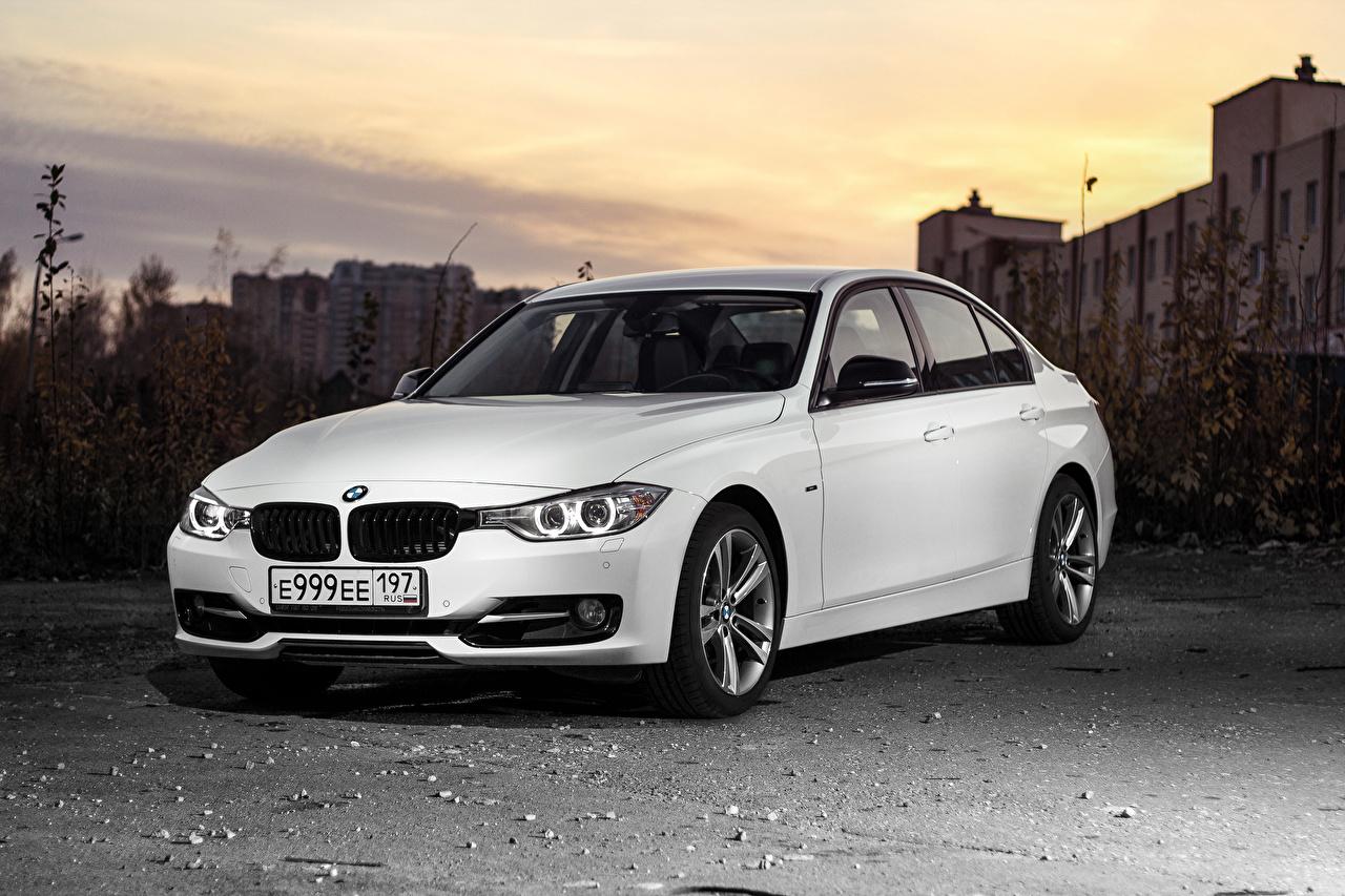 Images BMW 3-Series F30 Sedan White auto Cars automobile