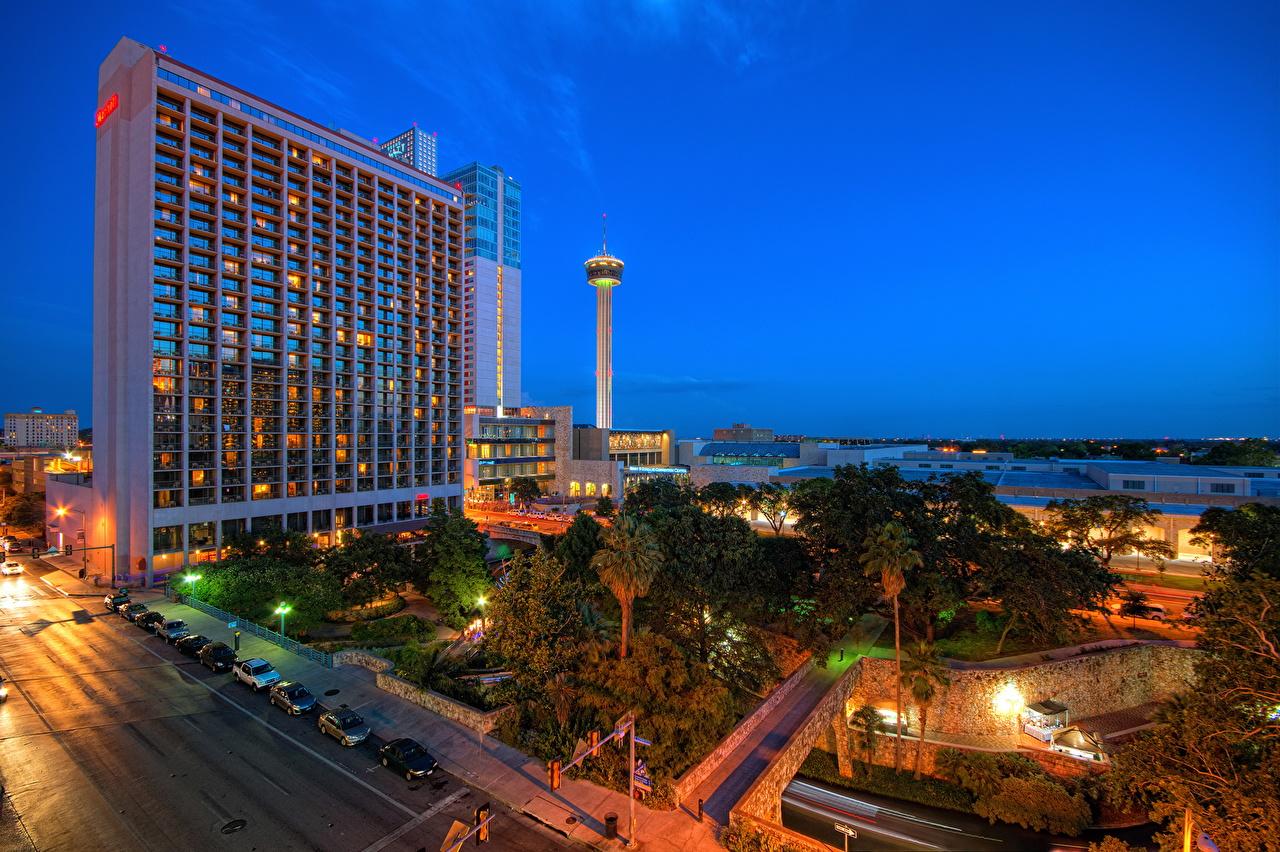 Bilder Texas Vereinigte Staaten San Antonio Wege Nacht Straßenlaterne Haus Städte USA Straße Gebäude