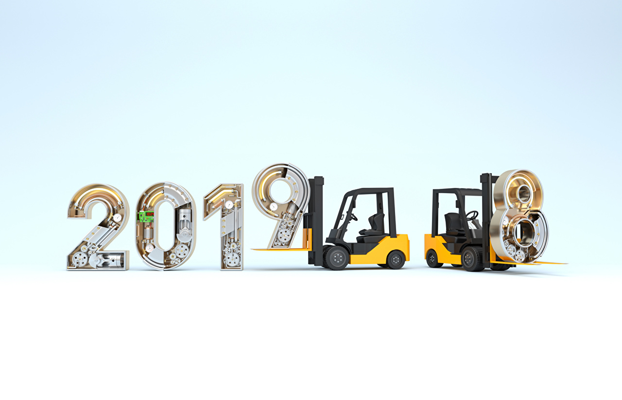 Photo 2019 fork truck Christmas Forklift New year