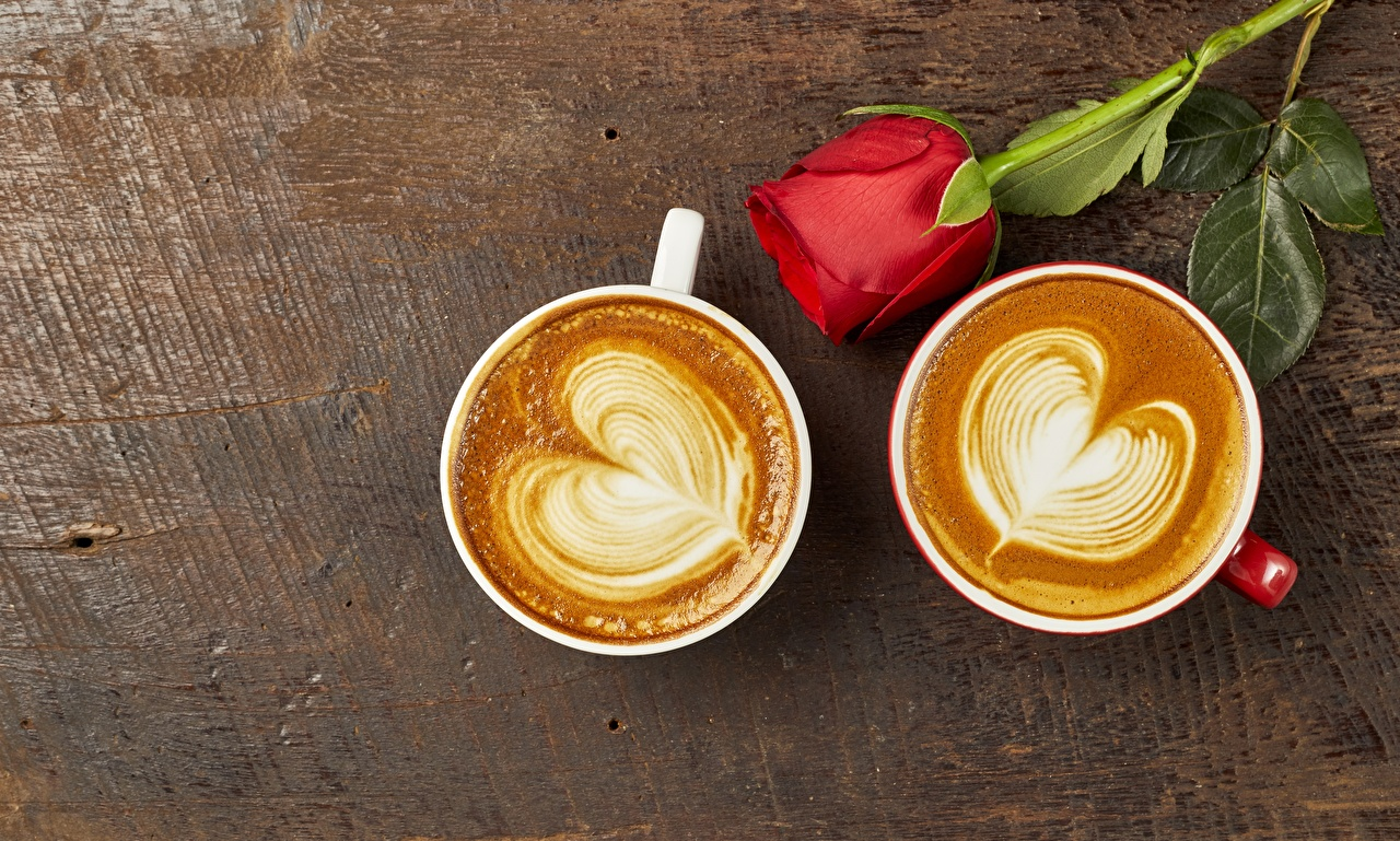 Images Heart Two rose Coffee Cappuccino Cup Food 2 Roses