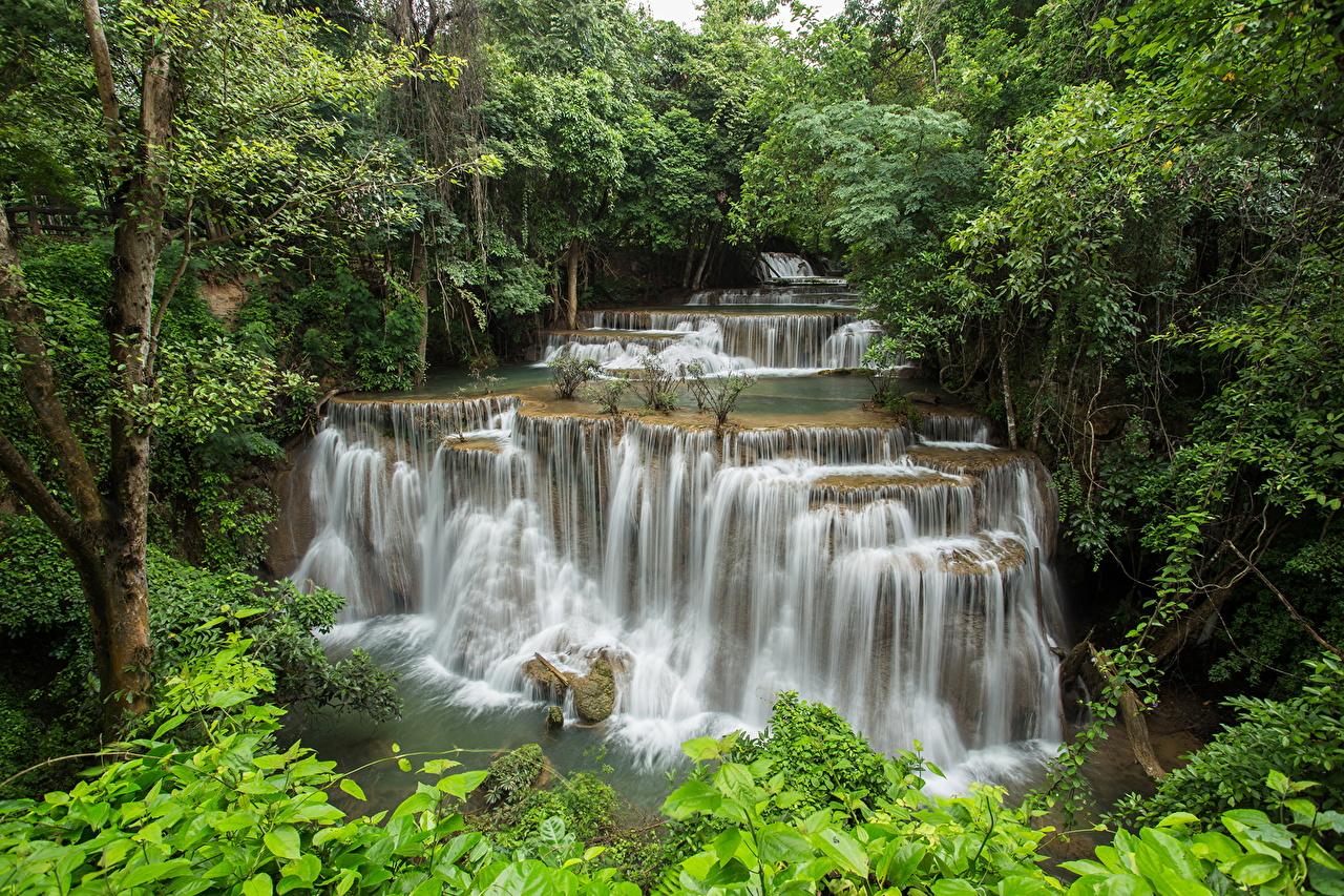Tailândia Rios Queda de água Florestas River Kwai Erawan waterfall floresta, rio, cachoeira, cascata Naturaleza