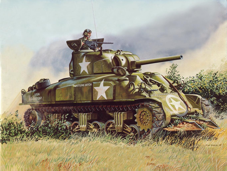 Photo military tank Painting Art M4 Sherman
