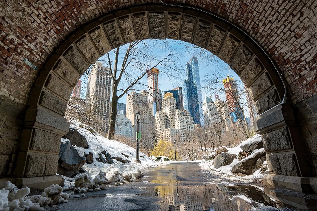Photo Manhattan New York City USA Snow Pavement Cities