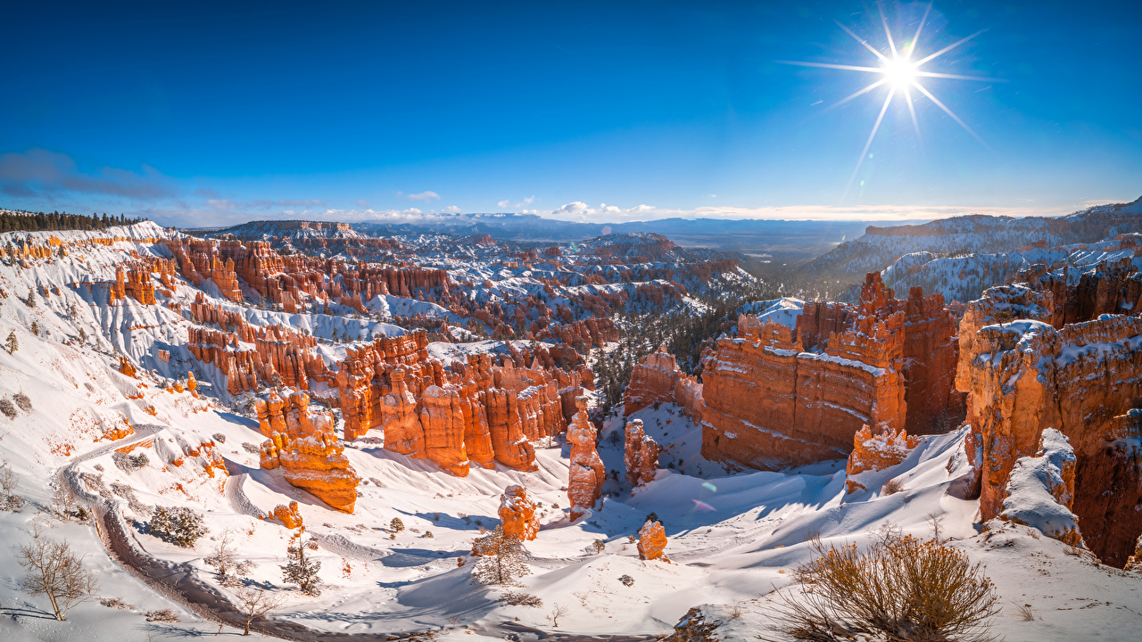 Desktop Wallpapers USA panoramic Bryce Canyon National Park, Utah Sun Cliff Winter Nature park Snow Scenery Panorama Crag Rock Parks landscape photography