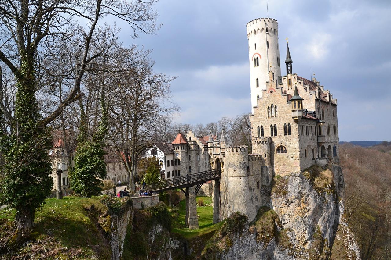 Desktop Wallpapers Germany Tower Crag castle bridge Trees Cities towers Rock Cliff Castles Bridges