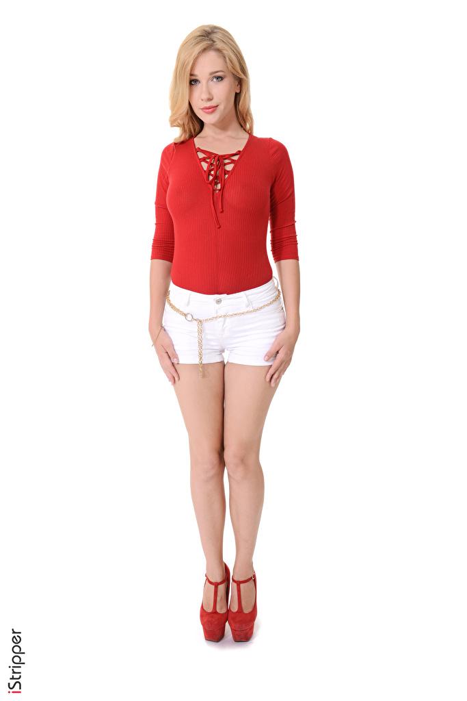 Foto Genevieve Gandi Blondine iStripper Mädchens Bein Hand Shorts Weißer hintergrund Stöckelschuh  für Handy Blond Mädchen junge frau junge Frauen High Heels